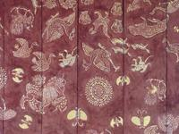 Vat Long Khoun large details, close view of stencilled wooden ceiling panel with birds, mammals, insects and mandalas