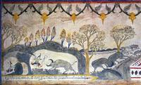 Battle in the cave between Sangkip and the buffalo Thoraphi (Dahlapi). Cloudy blood flowing out would be the buffalo's, while clear blood meant that Sankhip was killed and the cave must be sealed