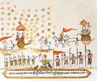 Rama, Hanuman and Sangip leading the troops back to the city of Bala (Varanasi)