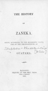History of Zaneka: being, according to the Boodhistic faith, one of the pre existences of Gautama